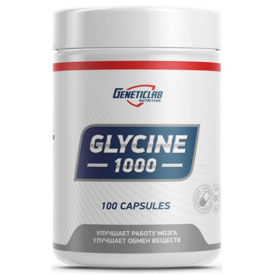 Глицин GENETIC LAB GLYCINE 1000 мг, 100 капсул