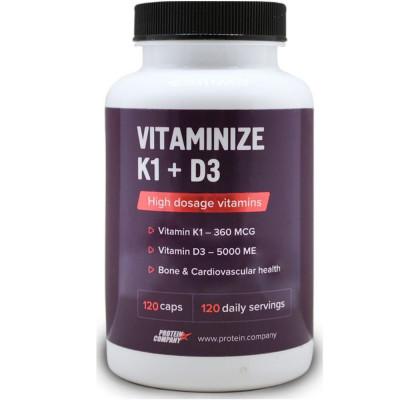 Витаминно-минеральный комплекс PROTEIN COMPANY VITAMINIZE K1+D3, 120 капсул