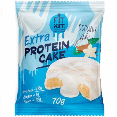Печенье протеиновое FIT KIT PROTEIN CAKE WHITE EXTRA в белой глазури, 70 г