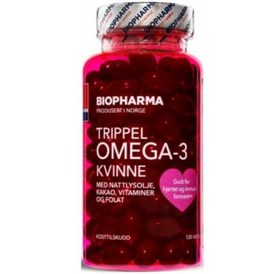 BIOPHARMA OMEGA-3 TRIPPEL KVINNE, 120 капсул